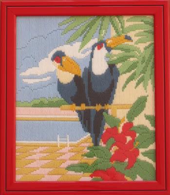 Pareja de tucanes bordados con lana