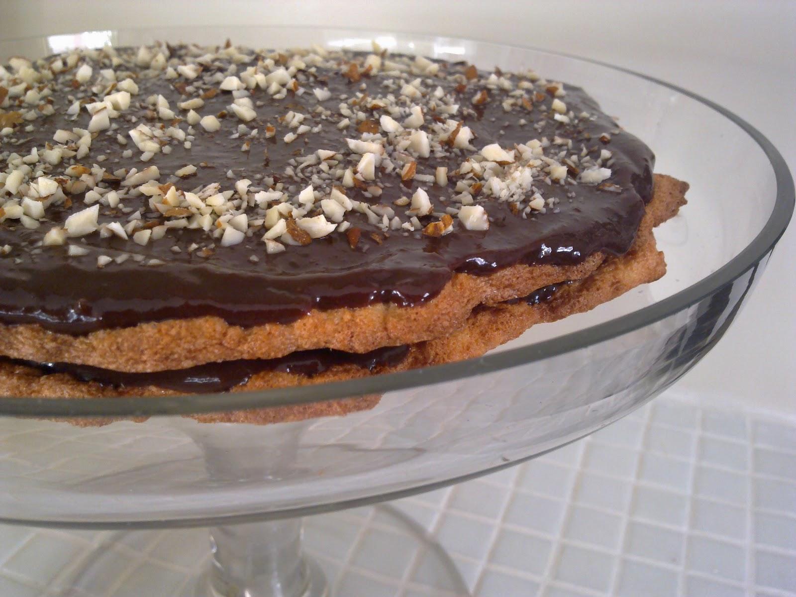 mandeltårta med chokladkräm