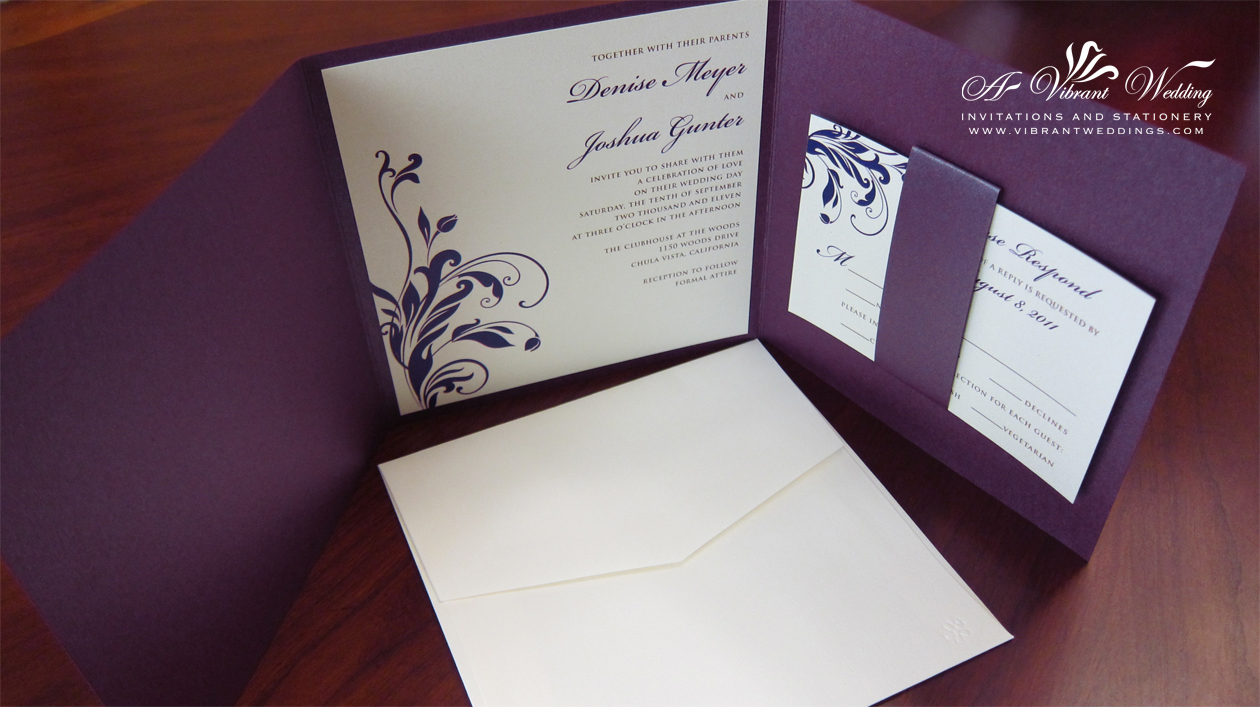 Purple Wedding Invitations Silver