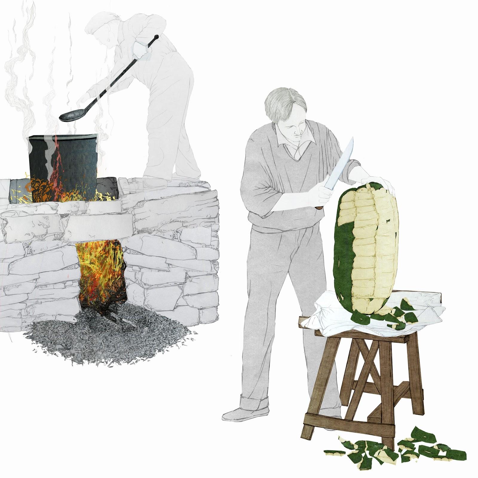 fuego, caldeo,  arrope, dulce tradicional,  valenciano, proceso, dibujo