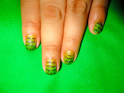 It's All About Nail Arts: News Paper Nail Art in Green