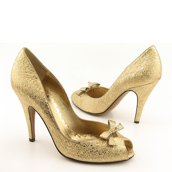 Shoes Antique Gold Pair of Gold Wedding Shoes