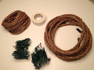 Ausgefallene Weihnachtsbeleuchtung selbstgemacht aus einem Seil