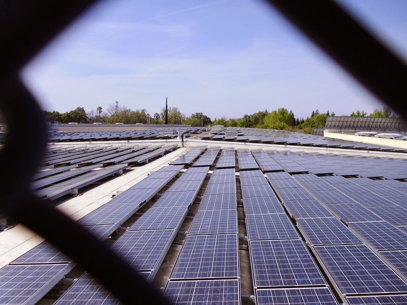 Solar panels atop the roof