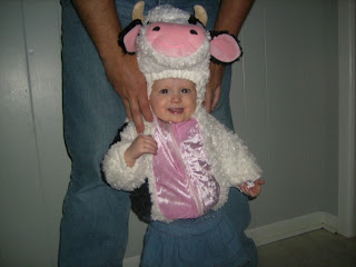 Cow costume from Goodwill (great for Chick-fil-A cow appreciation day!))
