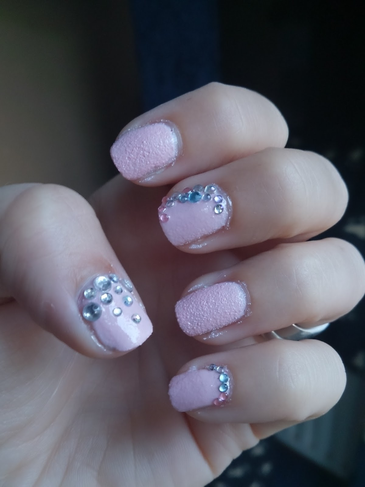crystal rhinestone nails barry m textured polish kingsland road design pink