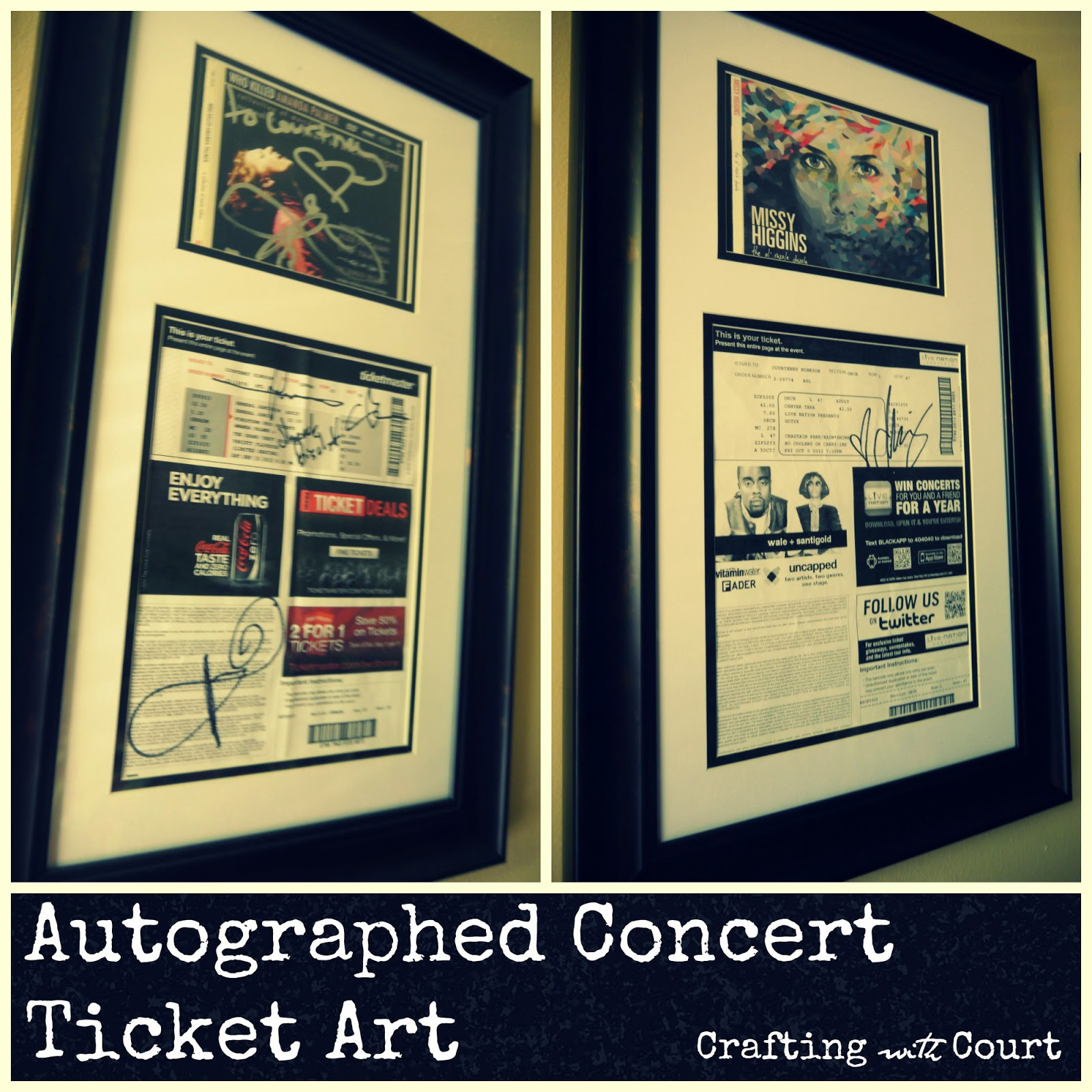 Crafting with Court: Autographed Concert Ticket Art
