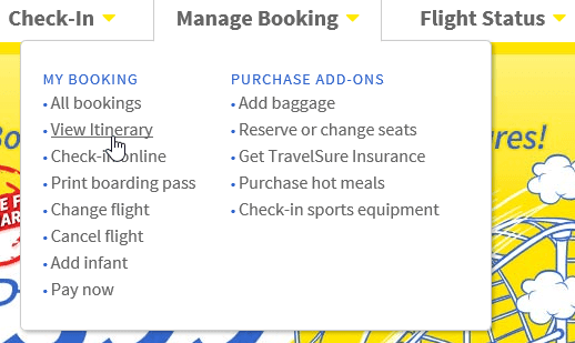 View Itinerary option on the Cebu Pacific Website