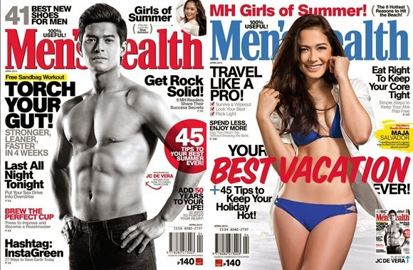 JC de Vera and Maja Salvador Strip on Men's Health April 2014 Covers