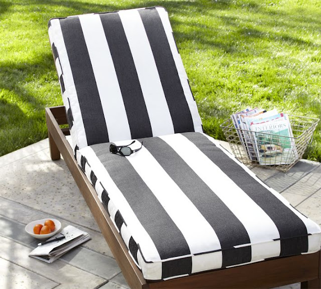 Copy cat chic pottery barn black and white striped chaise for Blue and white striped chaise lounge cushions