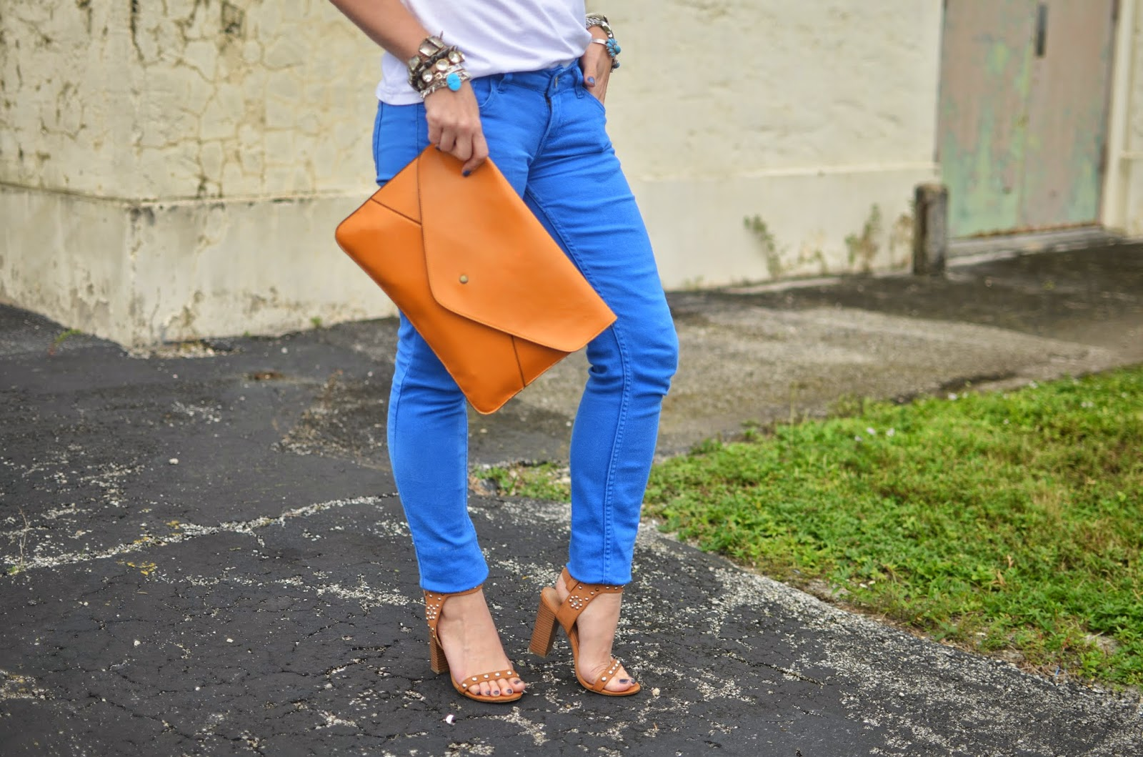 cobalt jeans - white tee - arm party - studded sandals