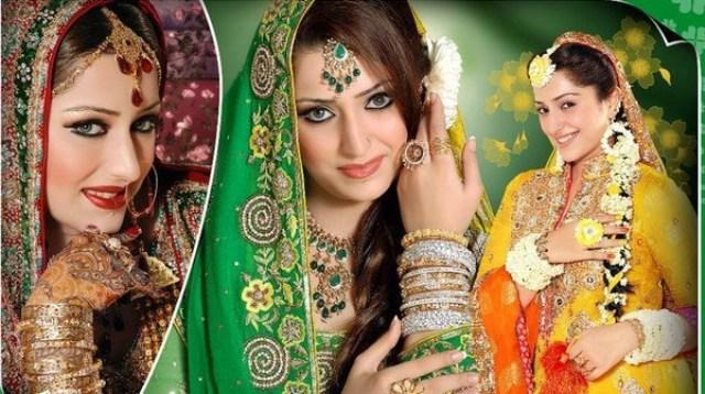Mehndi Hairstyles For Brides : Latest bridal mehndi dresses