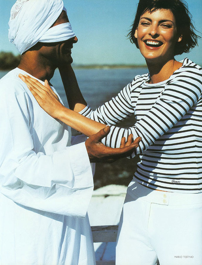 breton top / story of breton top / how to style breton top / Linda Evangelista in Vogue US May 1997 (photography: Mario Testino) via fashioned by love british fashion blog