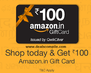 Free Rs. 100 Amazon Gift Card on Any Purchase (No minimum Shopping required)