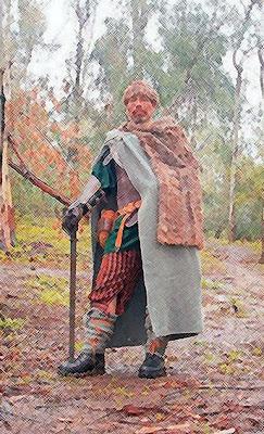 Arnel en su traje guerrero; o su autounción como Reyvnir.