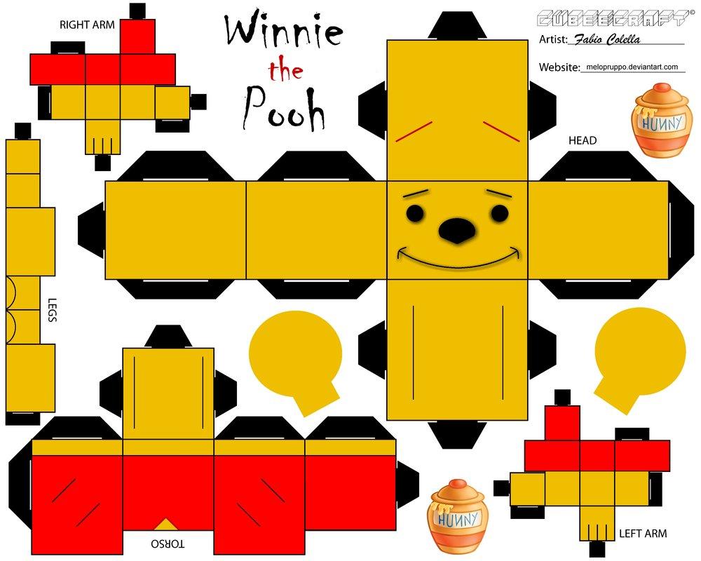 Recortable Winnie The Pooh Cubeecraft Vlc Peque
