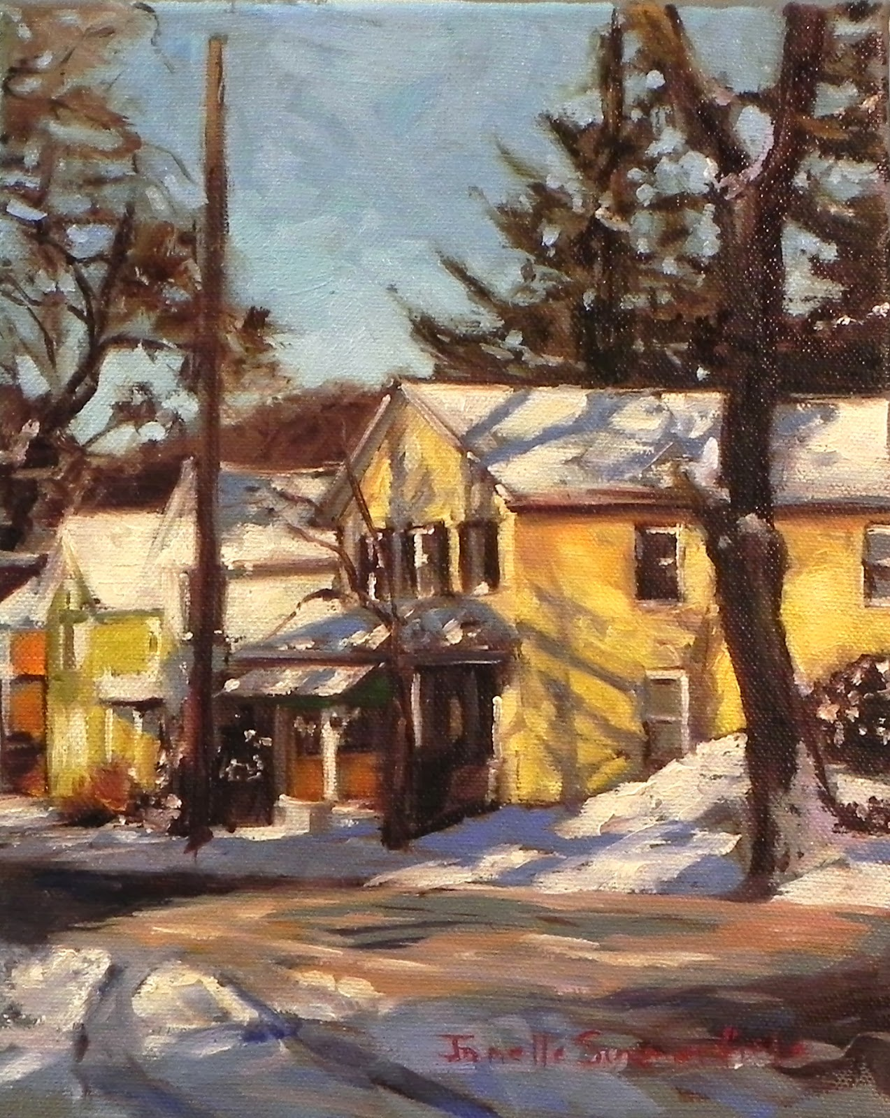Jonelle Summerfield Oil Paintings Yellow House in the Snow