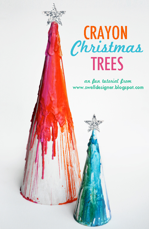 Crayon Drip Paper Mache Christmas Trees