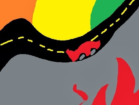A scribble of a car, rounding a corner on the road, zoomed in from the earlier picture.