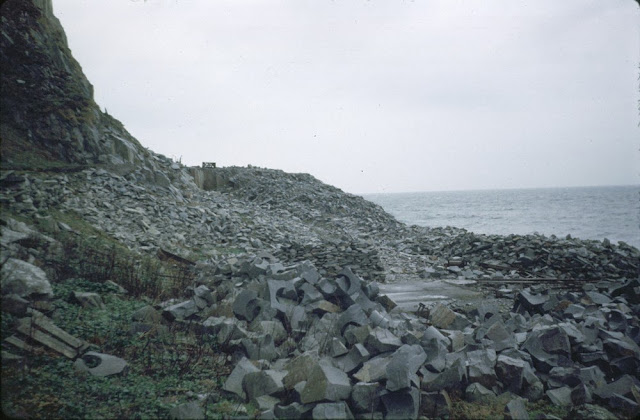 View of the old Ailsa Craig curling stone quarry situated on the north coast, Strathclyde Region, showing drilled-out stones 28 cm. in diameter in microgranite.