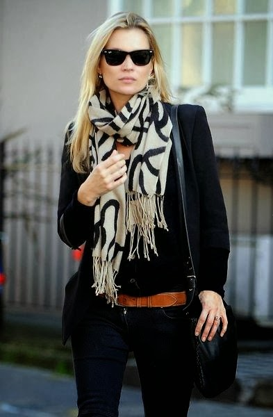 Black Blazer With Skinny&Stylish Scarf And Black Jeans
