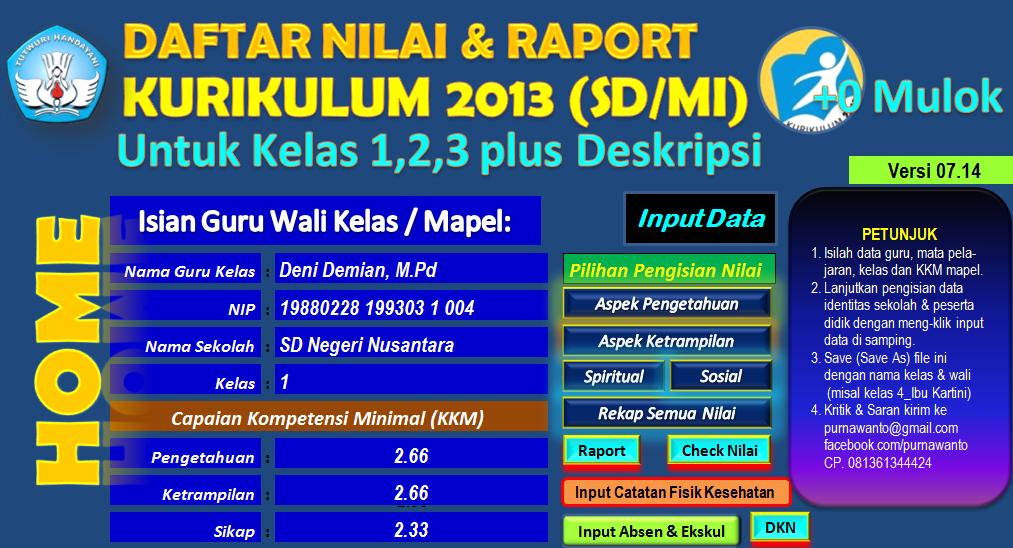 Aplikasi Daftar Nilai Dan Rapor Kurikulum 2013 Terbaru Kelas 1 2 Dan 3 Sd Mi Plus Deskripsi