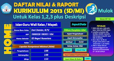 Aplikasi Daftar Nilai Dan Rapor Kurikulum 2013 Terbaru Kelas 1,2 Dan 3 SD/MI Plus Deskripsi