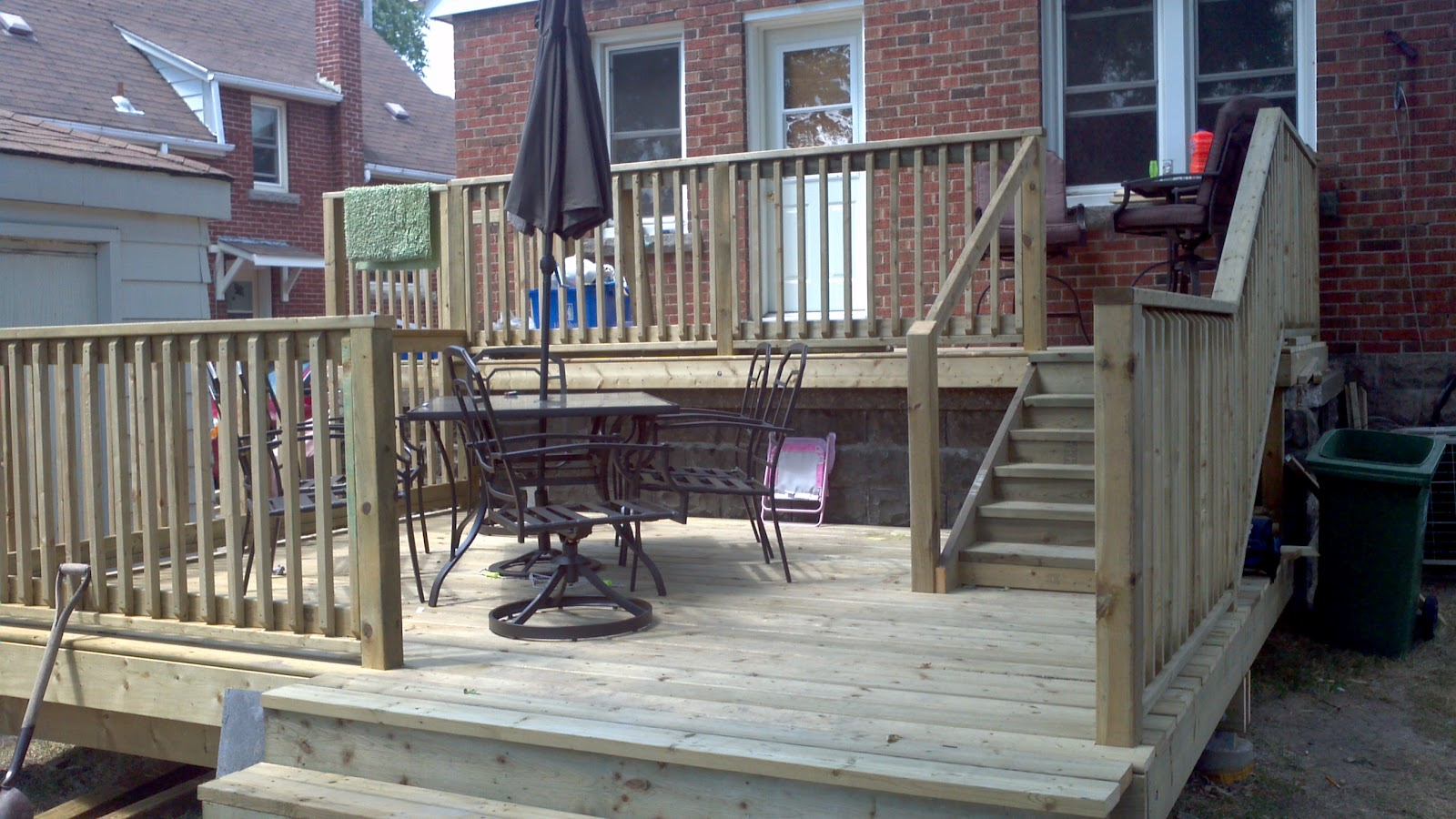 A Board And Beyond Home Improvements Two Tier Backyard Deck