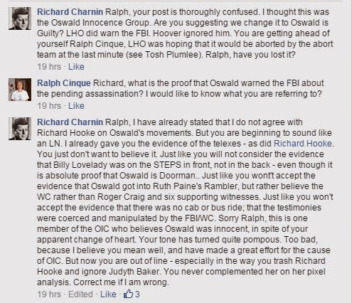 Oswald Innocence Campaign senior member Richard Charnin accuses founder Ralph Cinque of being a Warren Commission supporter.
