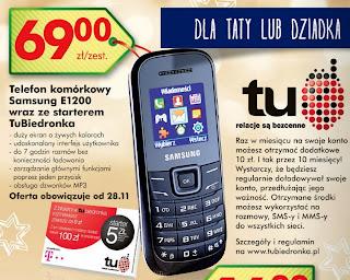 Telefon komórkowy Samsung E1200 z Biedronki ulotka