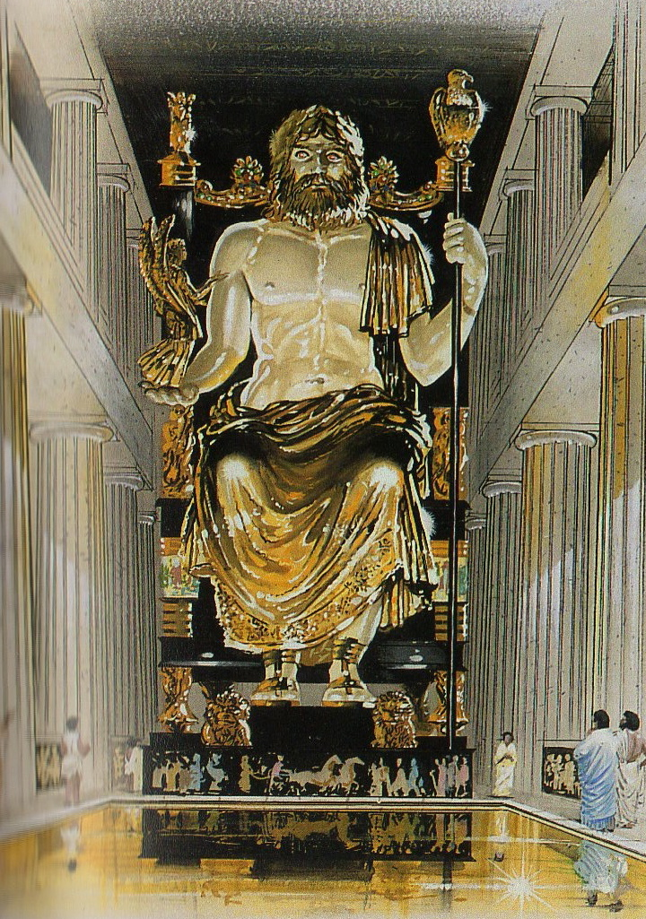 the statue of zeus The statue of zeus at olympia was one of the seven wonders of the ancient world it was made by the greek sculptor of the classical period, phidias, circa 432 bc on the site where it was erected in the temple of zeus, olympia, greece.