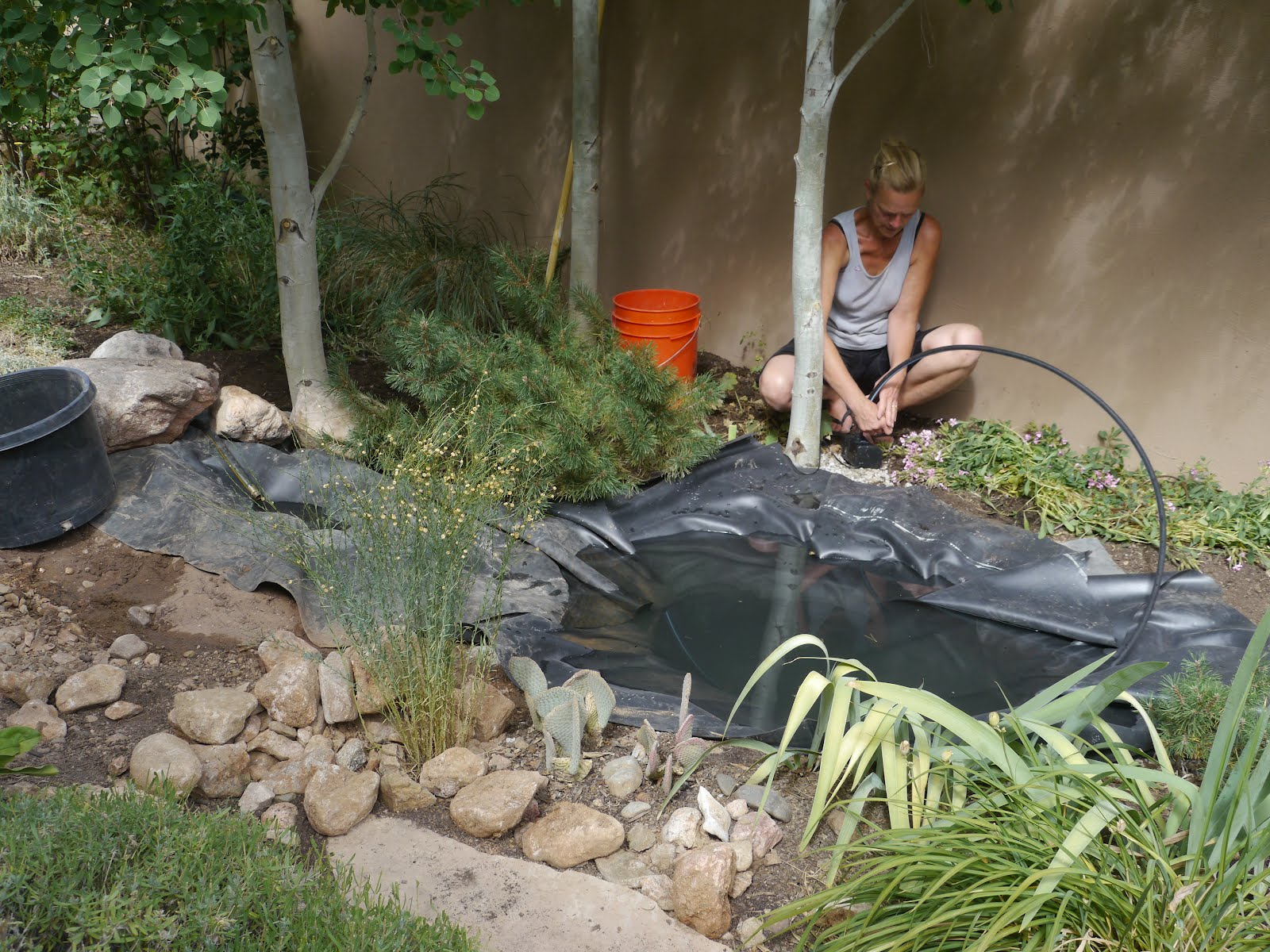 Water Feature With Pond And Small Waterfall, Using A Solar Pump.