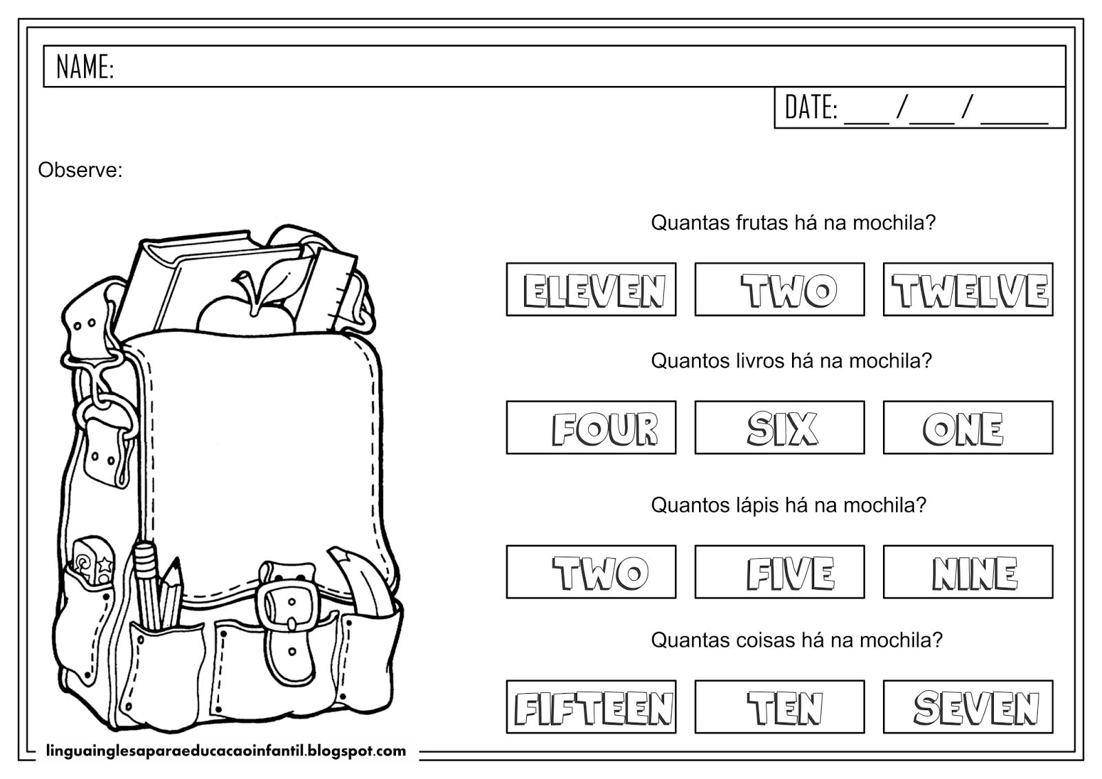 Atividade de Inglês sobre Quantidade para educação infantil