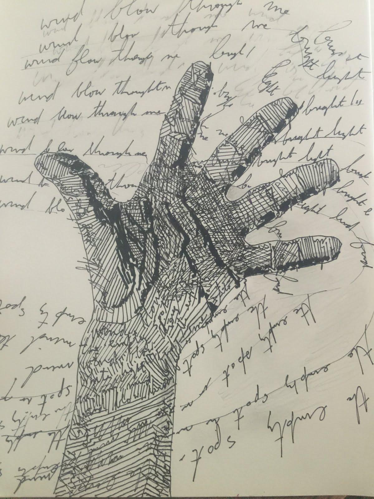 "Talking With My Hand  Pencil on Paper 9""x12"" Triada Samaras c. 2015"