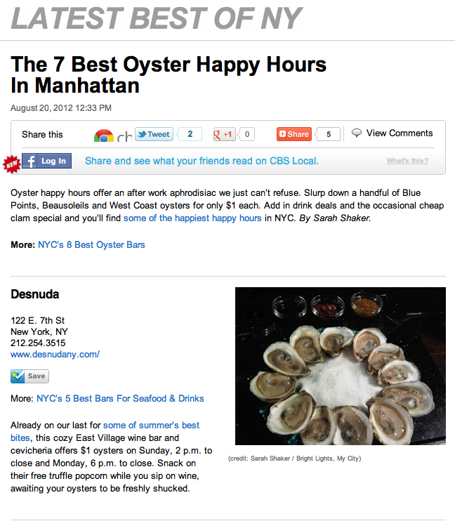 Bright Lights, My City: The 7 Best Oyster Happy Hours In Manhattan