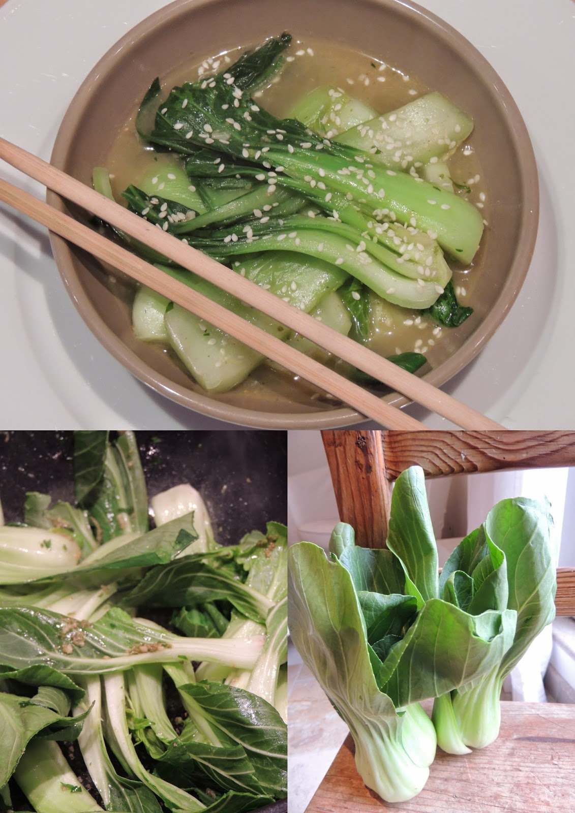 midi cuisine pak choi au bouillon de combawa et s same recette l g re. Black Bedroom Furniture Sets. Home Design Ideas