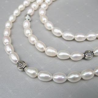 .3 Strand pearl & sterling silver elegance necklace by Marla Faye Creations on Etsy