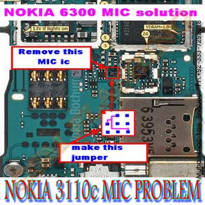 Nokia 3110c/6300c/3500 MIC IC Jumper Solution And Nokia 6300c/3110c