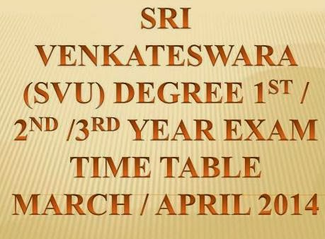 Sri Venkateswara University ( SVU) Degree 1st / 2nd / 3rd Year Exam Time Table 2014 at www.svuexams.in