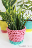http://theinspiredwren.blogspot.com/2015/05/summer-sherbet-crochet-planter-cover.html