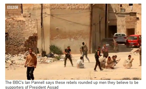 NATO Terrorists Execute Civilians While Waiting for Syrian Army Aleppo BBC July24 25 2012 Kidnapping2