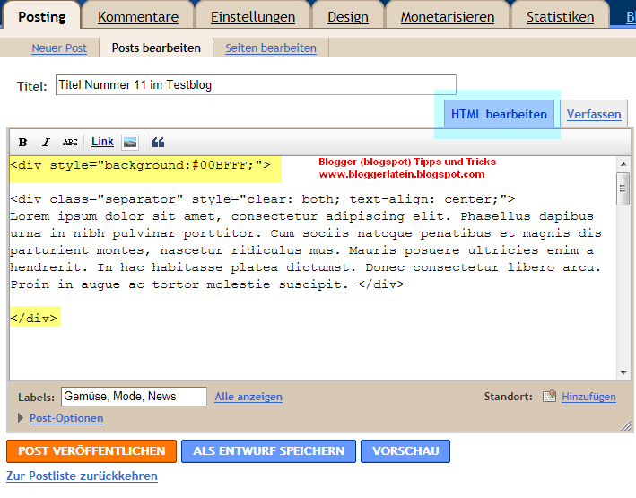 Hintergrund Farbe für einen Post bei Blogger Blogspot ändern.