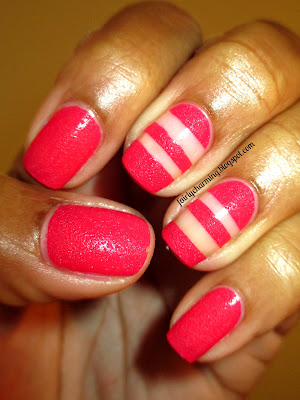 China Glaze Bump & Grind, texture, pink, rose, cream, creme, stripes, funky french, nails, nail art, nail design, mani