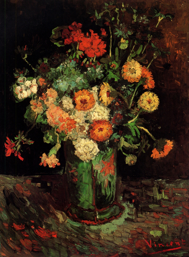 Vase with Zinnias and Geraniums, 1886