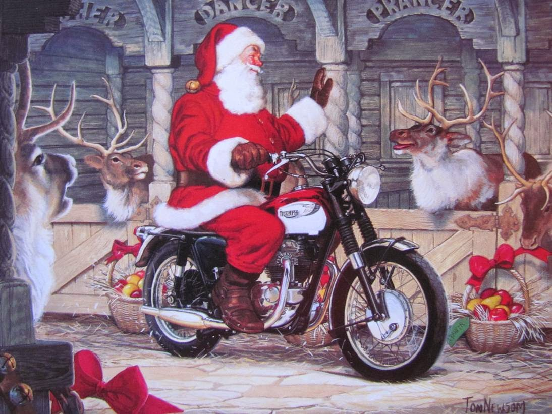 Motoblogn Tom Newsom Motorcycle Santa Art