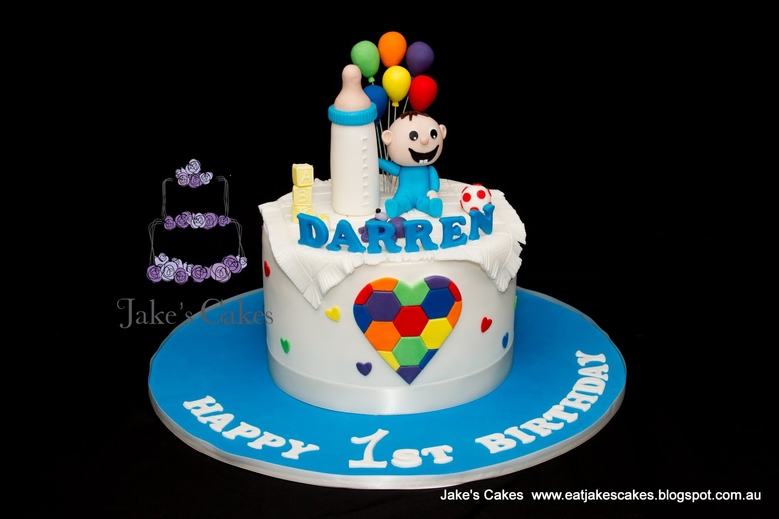 Jakes Cakes Baby rainbow balloon cake