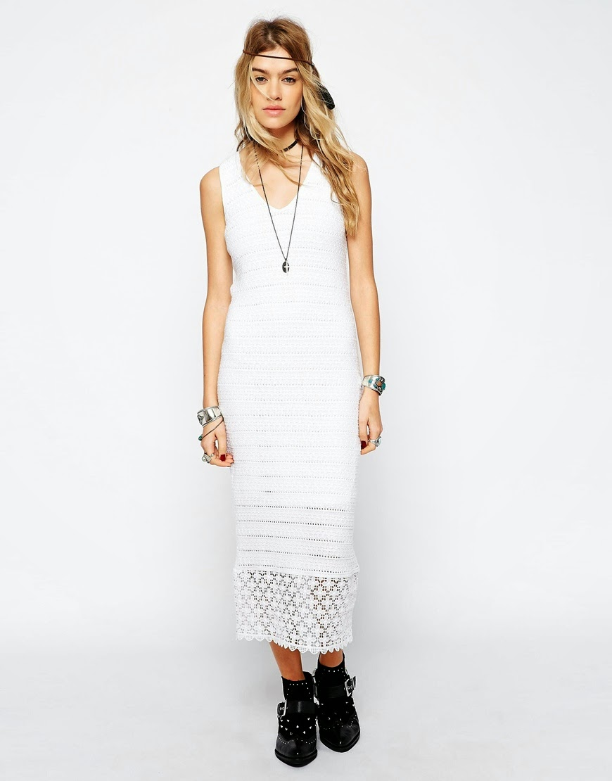 long white crochet dress
