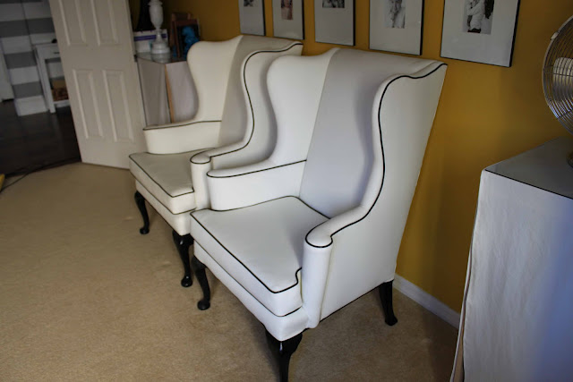 Superbe ... Wingback Chairs In White Vinyl With Black Piping. Notice Unique Arm  Rests. Very Sad To See These Go But I Just Donu0027t Have The Room For  Themu2026weep, Weep.