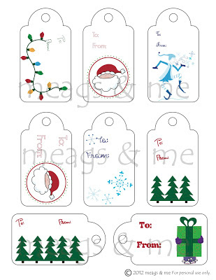 meags and me Holiday Gift Tags