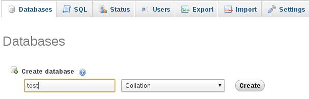 membuat database pada phpmyadmin